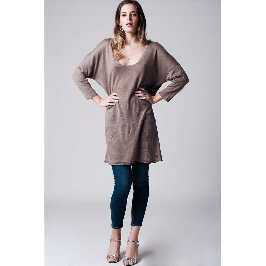 Beige long knit sweater with deep V neck CoolHatcher at TheArtOfLiving.Earth