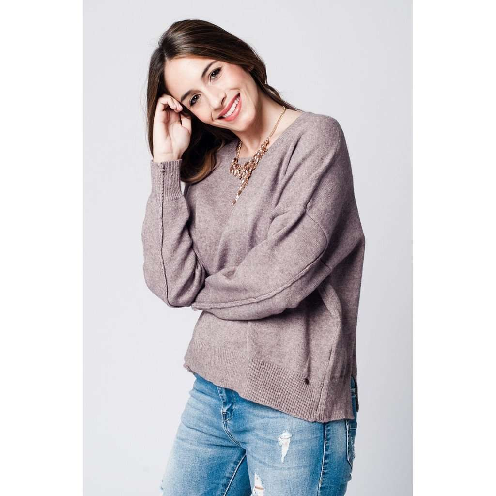 Beige soft knit jersey with dropped shoulders CoolHatcher at TheArtOfLiving.Earth