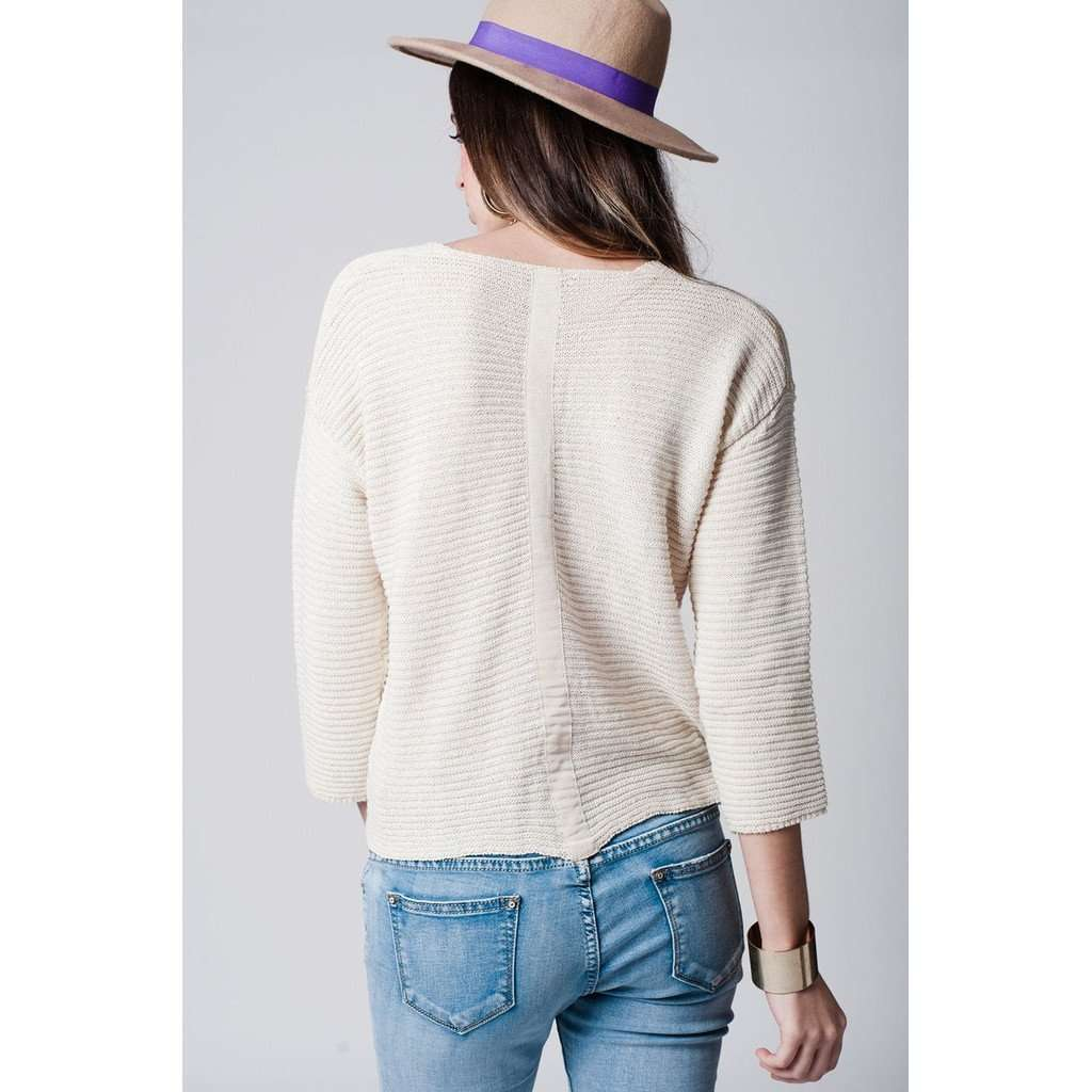 Beige trim back top in textured sweat CoolHatcher at TheArtOfLiving.Earth
