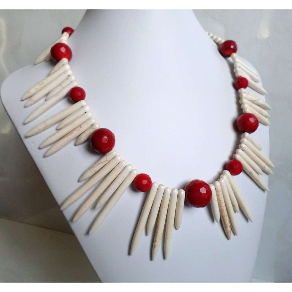 Howlite & Coral Necklace