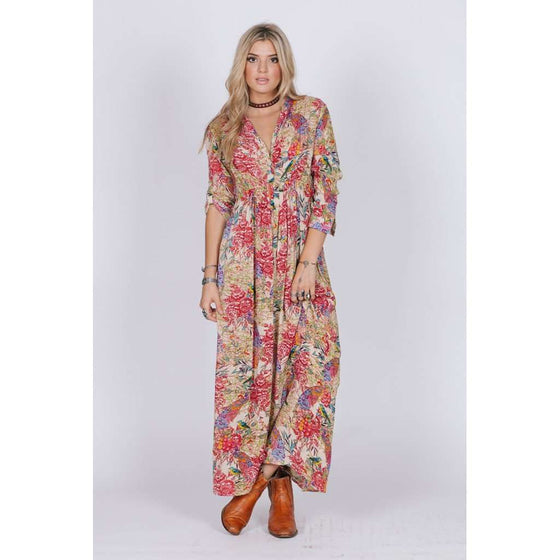 BIRDS OF PARADISE BUTTON DOWN MAXI CoolHatcher at TheArtOfLiving.Earth