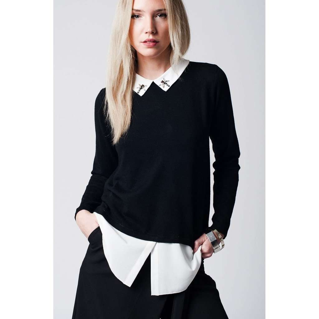 Black 2 in 1 sweater with jewelled neckline detail CoolHatcher at TheArtOfLiving.Earth