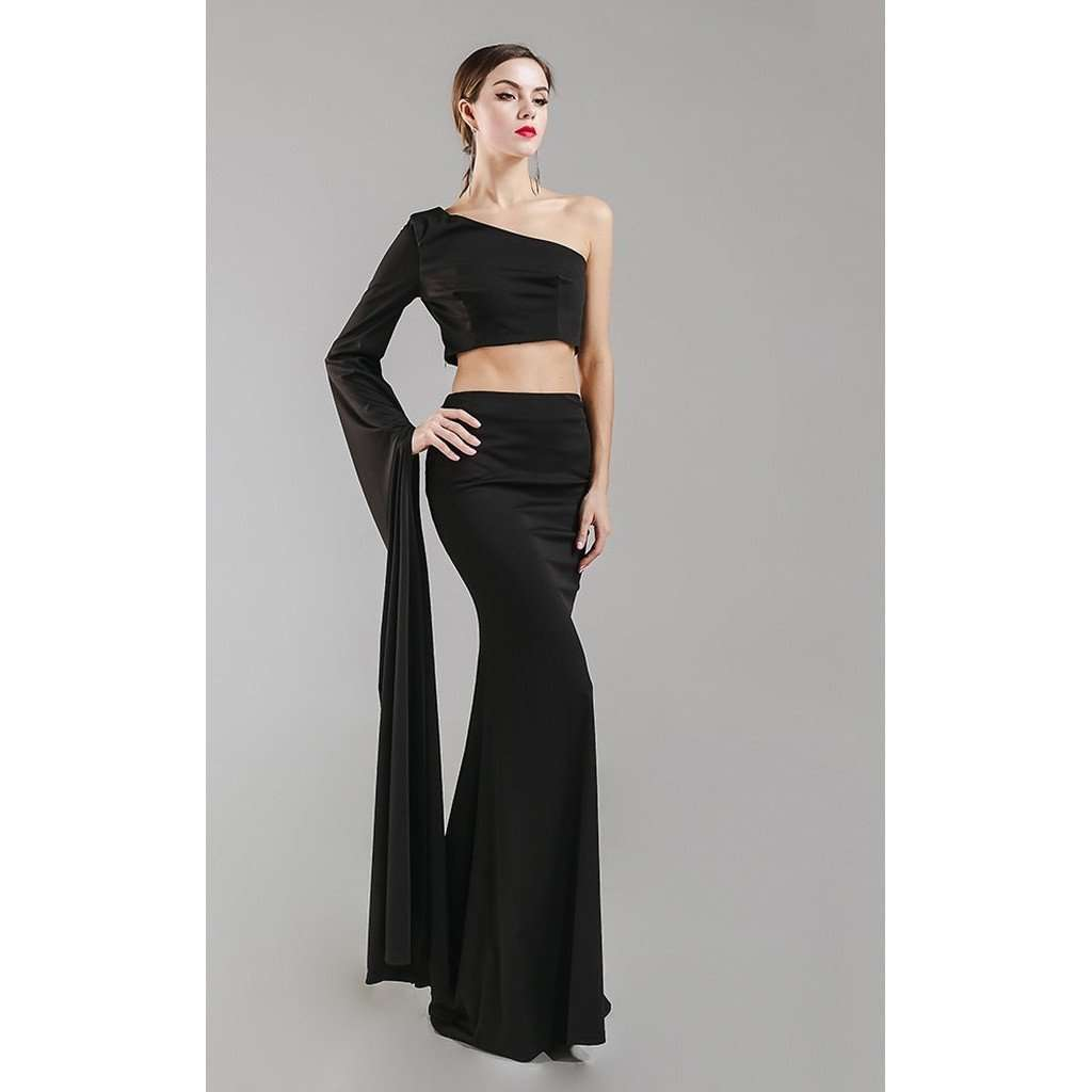 Black 2 Piece Gown, Made to Order CoolHatcher at TheArtOfLiving.Earth