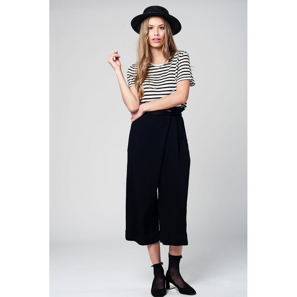 Black culotte with tie waist and stretch back CoolHatcher at TheArtOfLiving.Earth