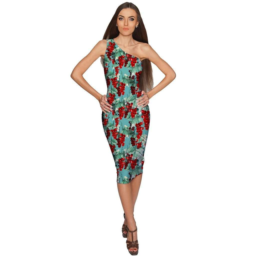 Toscana Layla One-Shoulder Green Midi Eco Dress - Women CoolHatcher at TheArtOfLiving.Earth