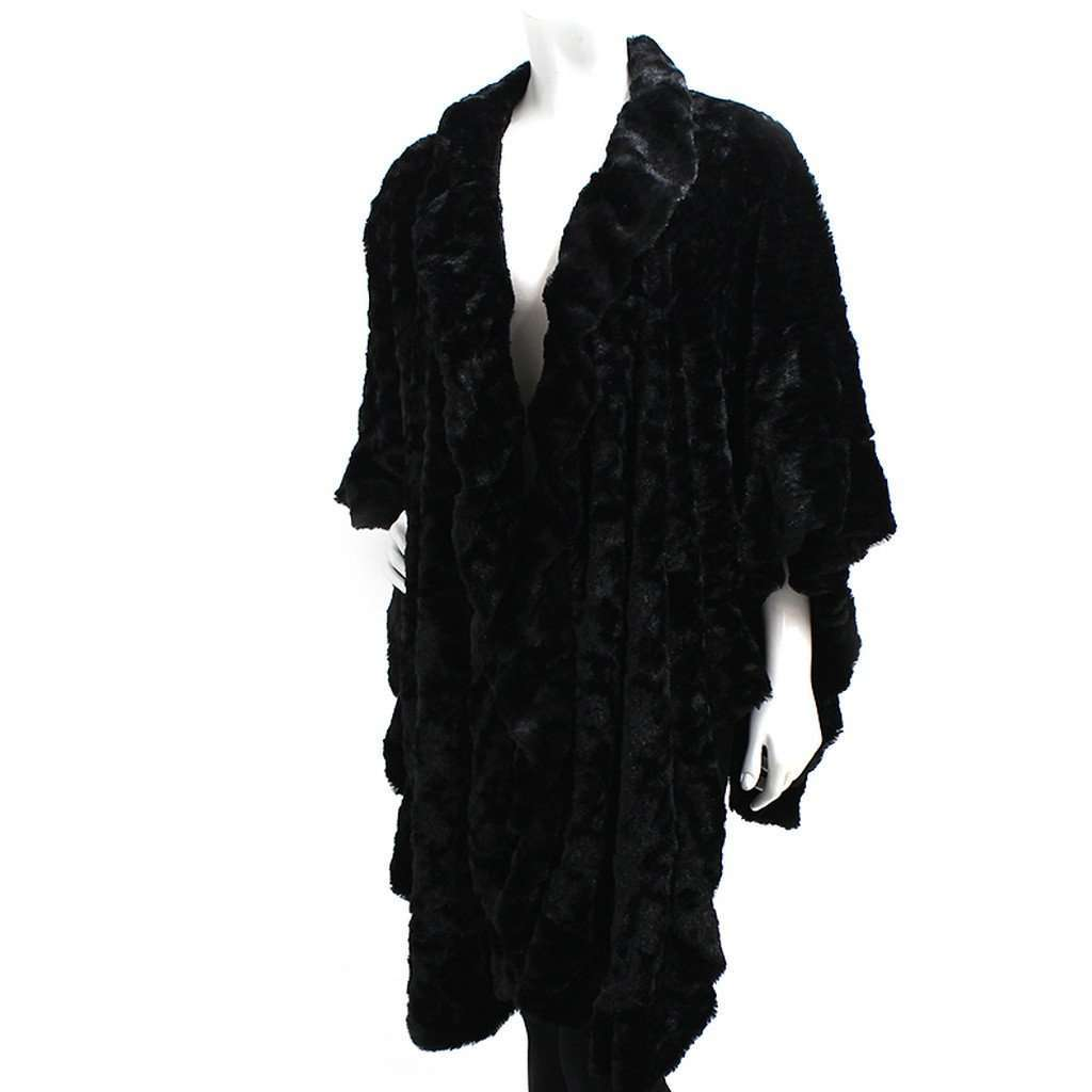 Black Faux Fur Shawl Scarf CoolHatcher at TheArtOfLiving.Earth