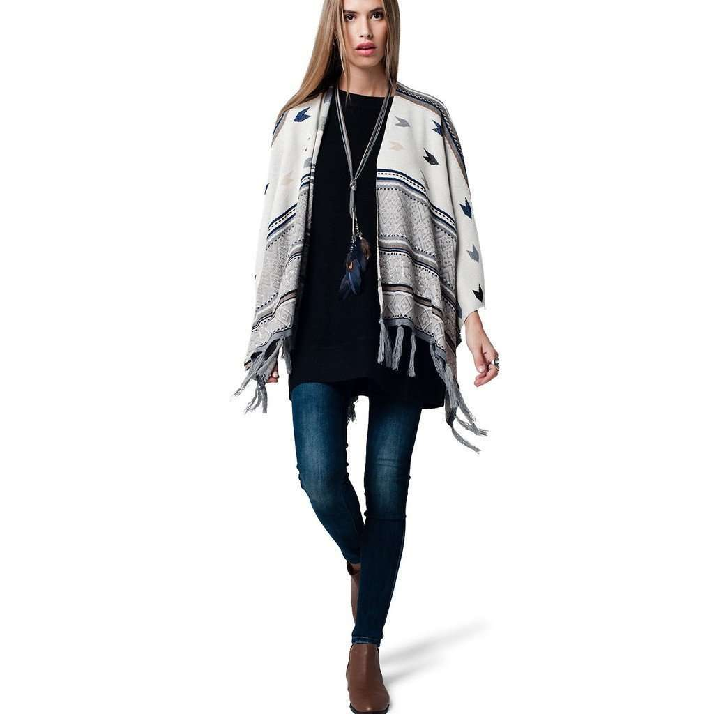 Fringed Poncho with geo print and blue line