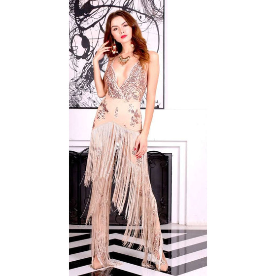 Beige Sequin Jumpsuit CoolHatcher at TheArtOfLiving.Earth