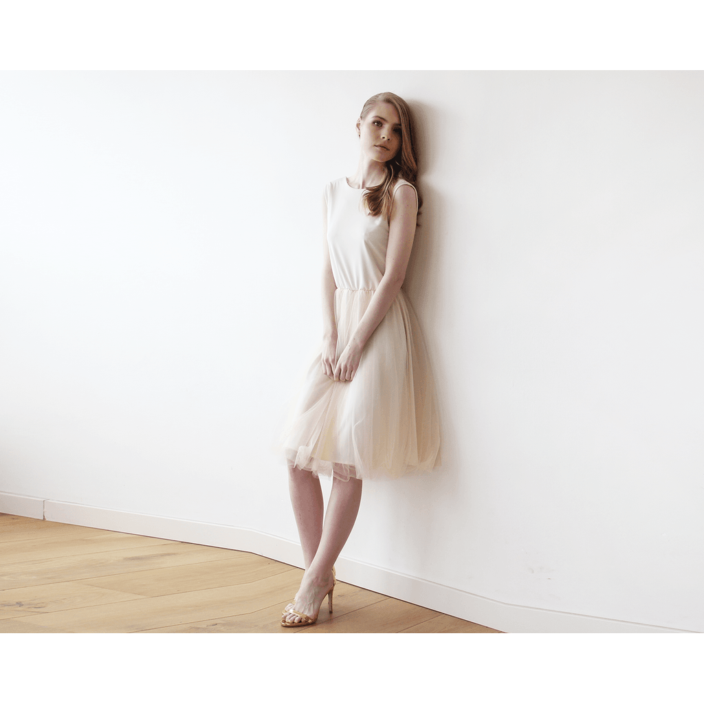Champagne Midi Tulle Dress with Open Back CoolHatcher at TheArtOfLiving.Earth