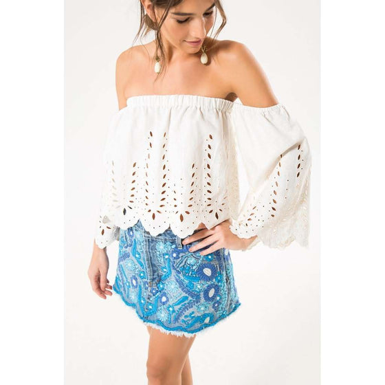 Embroidered Denim Mini Skirt CoolHatcher at TheArtOfLiving.Earth