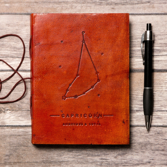Capricorn Zodiac Handmade Leather Journal CoolHatcher at TheArtOfLiving.Earth