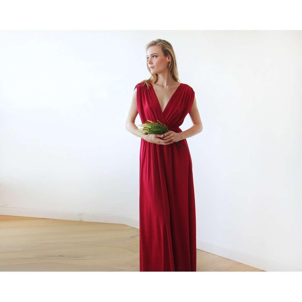 Bordeaux sleeveless maxi dress CoolHatcher at TheArtOfLiving.Earth