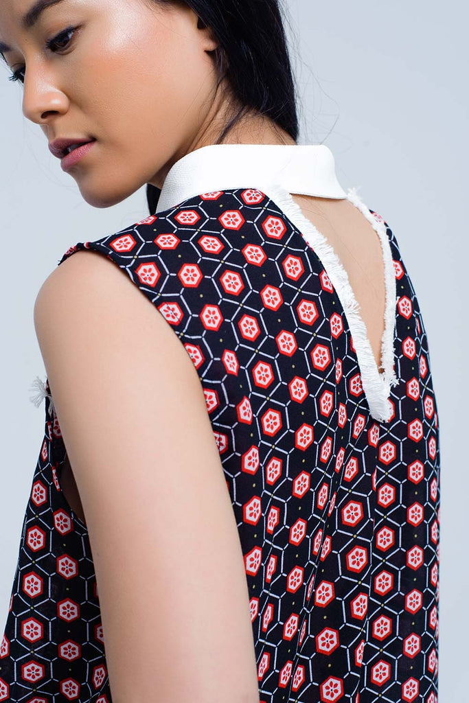 Red top with geo print and fringed detail CoolHatcher at TheArtOfLiving.Earth