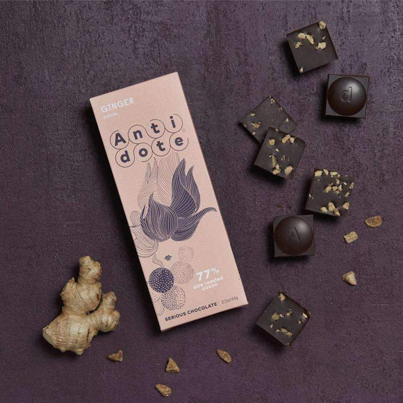 Antidote Chocolate - Aletheia: Ginger 77% with slow roasted cacao CoolHatcher at TheArtOfLiving.Earth