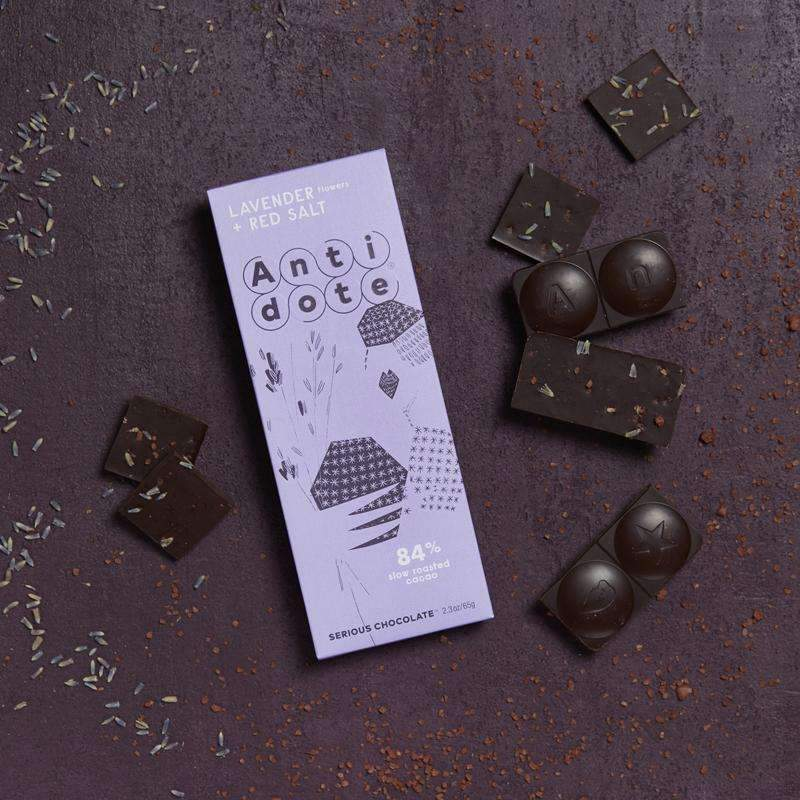 Antidote Chocolate - Panekeia: Lavender + Red Salt 84% with slow roasted cacao CoolHatcher at TheArtOfLiving.Earth