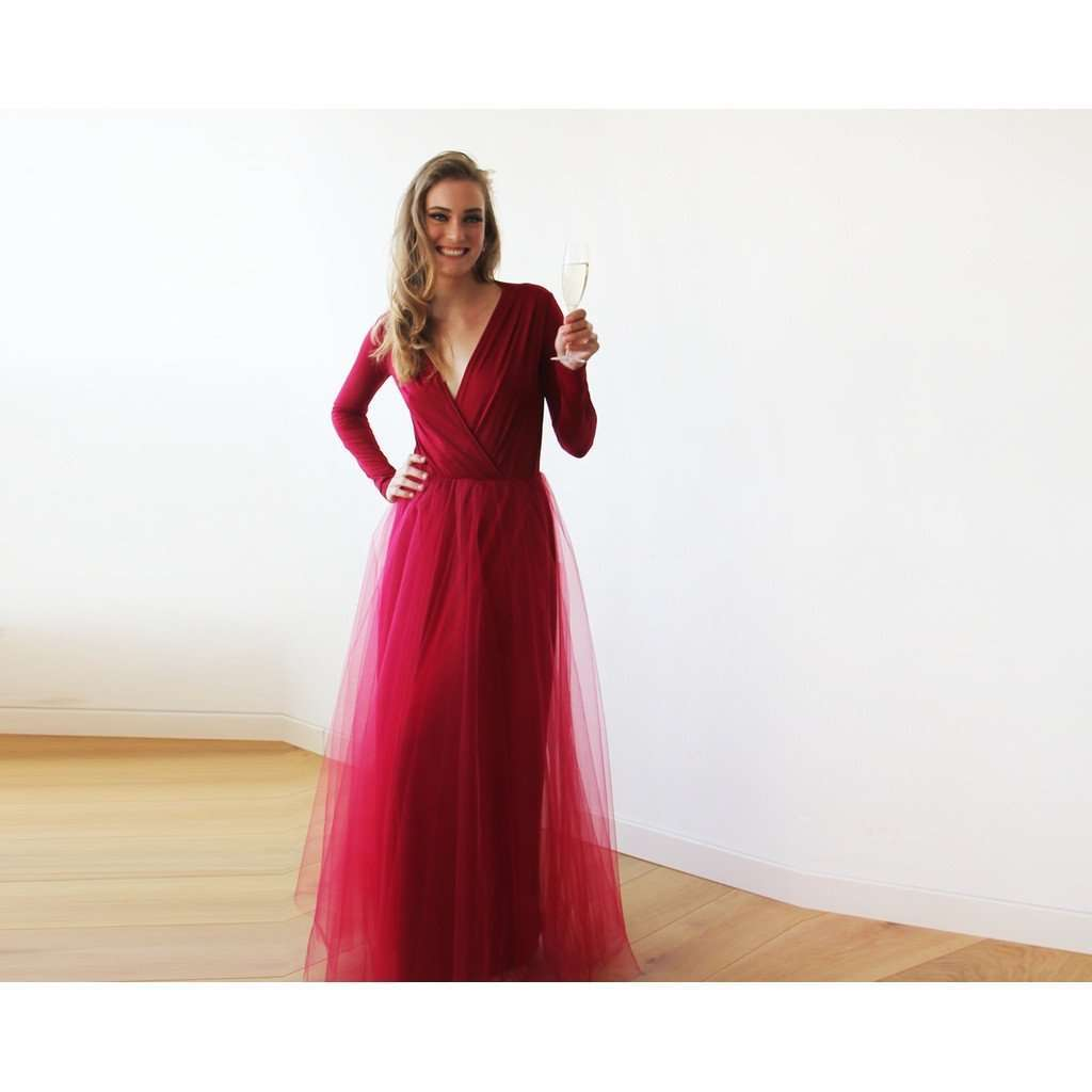 Bordeaux maxi tulle dress with long sleeves CoolHatcher at TheArtOfLiving.Earth