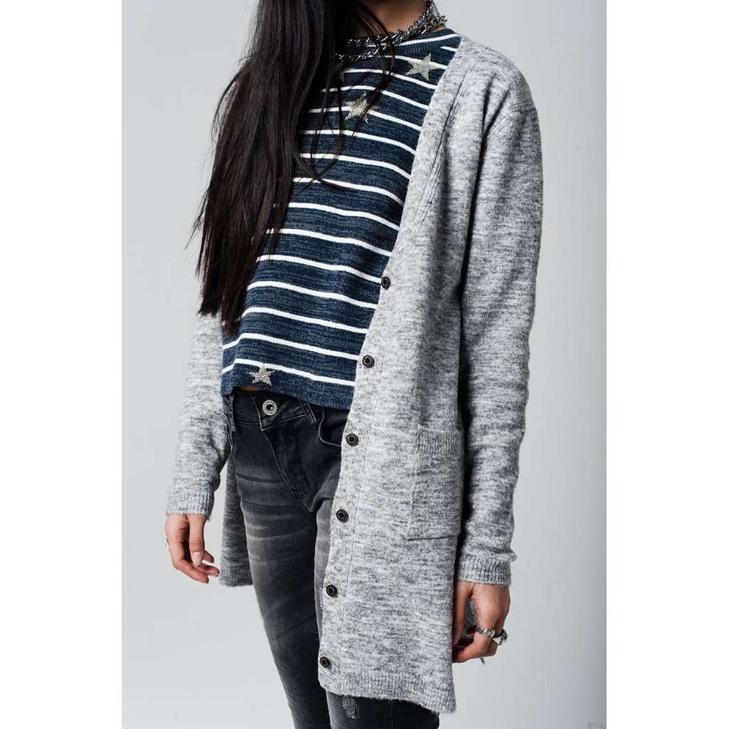 Grey longline Cardigan with buttons at the front