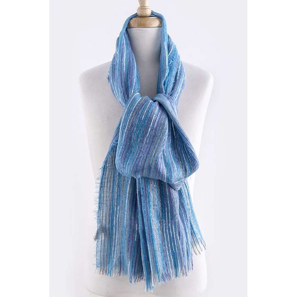 Blue Striped Knit Scarf CoolHatcher at TheArtOfLiving.Earth