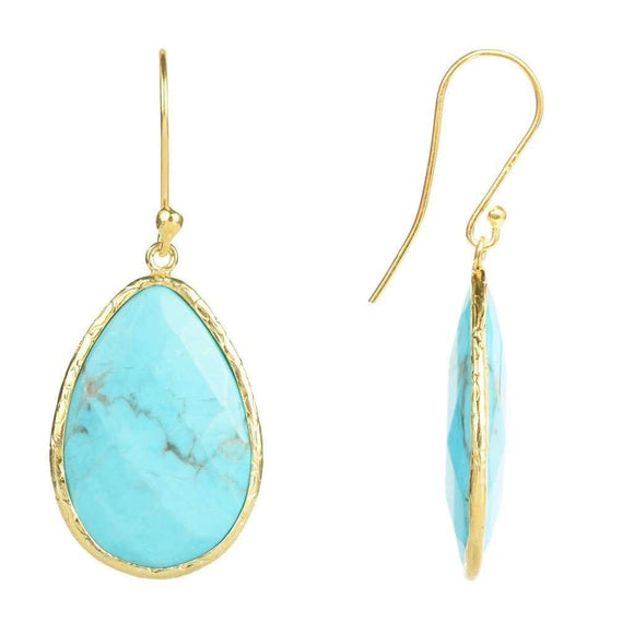 Gold Single Drop Earring Turquoise CoolHatcher at TheArtOfLiving.Earth