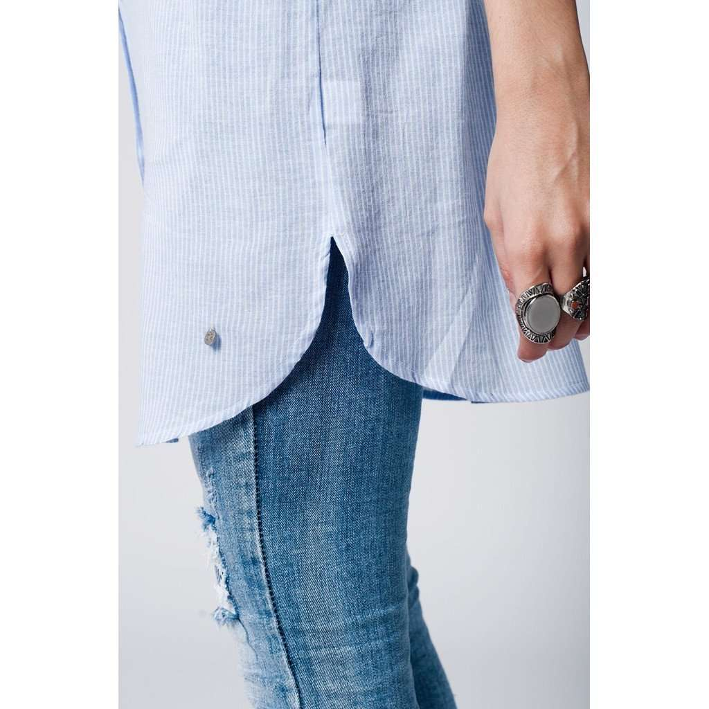 Blue striped cotton shirt in oversize fit with pocket on the front CoolHatcher at TheArtOfLiving.Earth