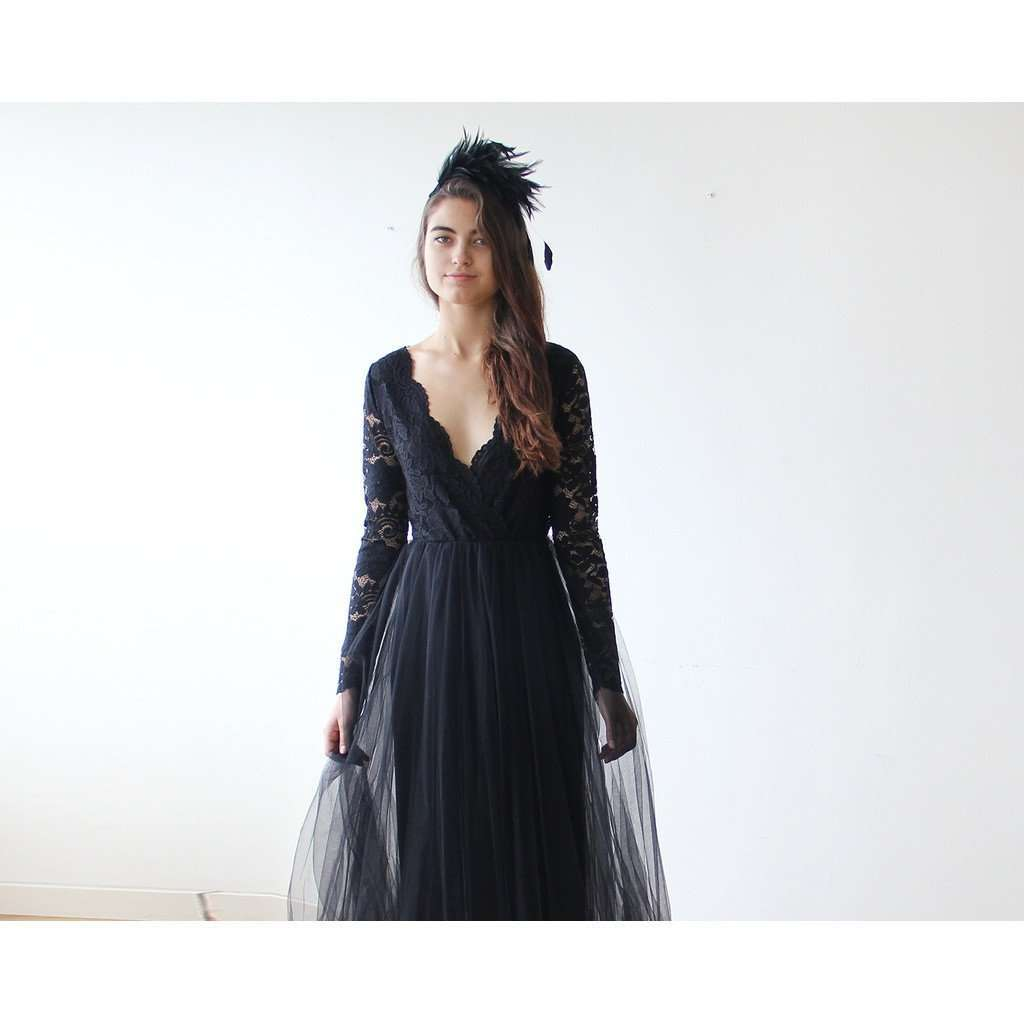 Black Tulle and Lace Long Sleeves Gown CoolHatcher at TheArtOfLiving.Earth