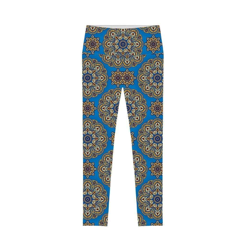 Boho Chic Lucy Blue Printed Performance Leggings - Women CoolHatcher at TheArtOfLiving.Earth