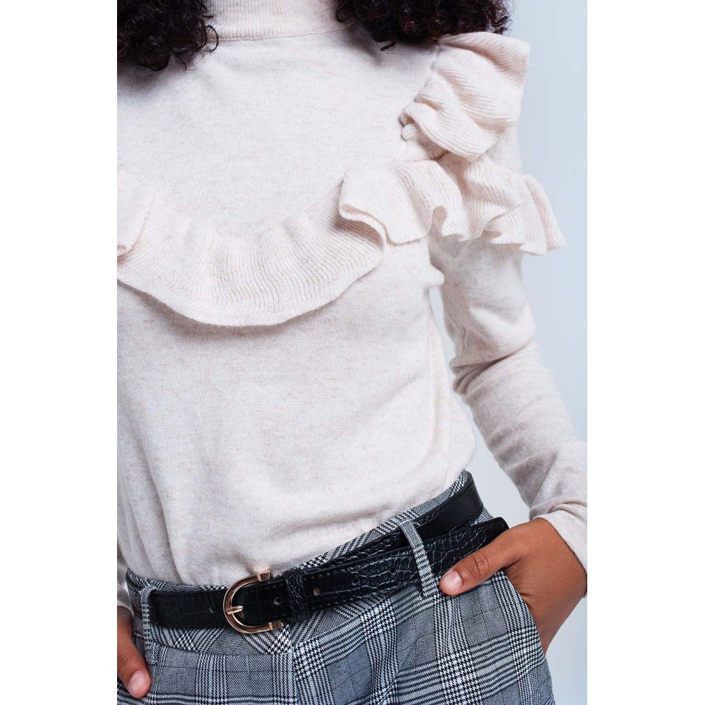 Beige sweater with ruffle CoolHatcher at TheArtOfLiving.Earth