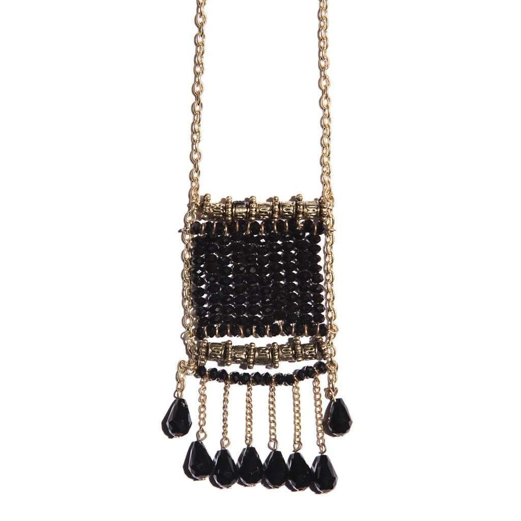 Black Seedbead Charm Pendant Necklace