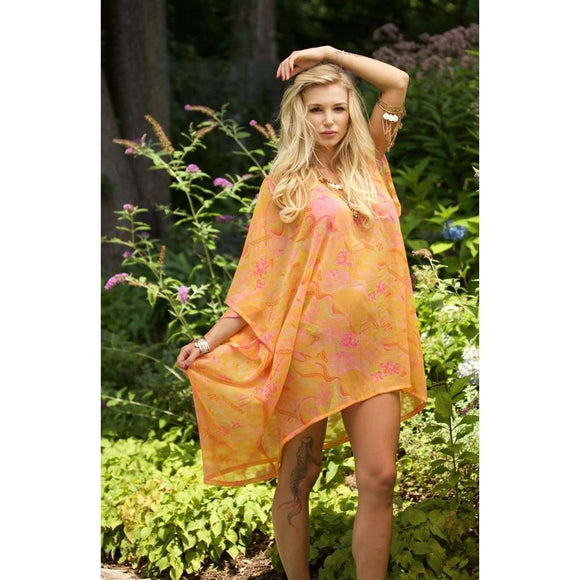 Orange and Pink Caftan CoolHatcher at TheArtOfLiving.Earth