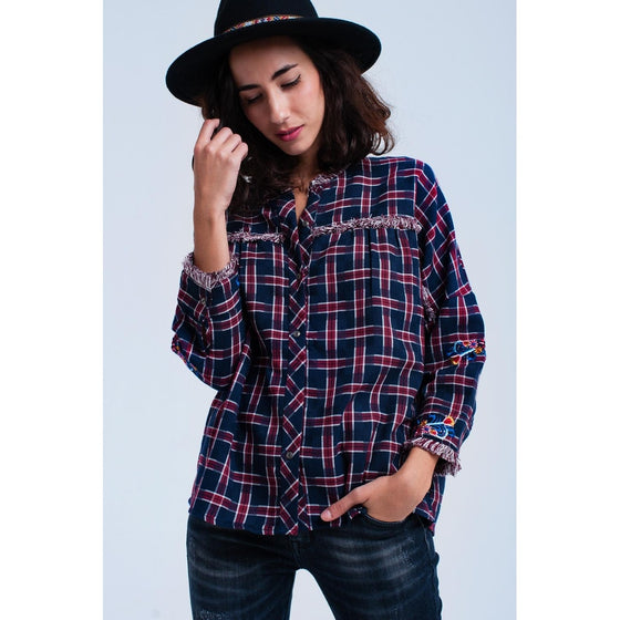 Red checked embroidered shirt CoolHatcher at TheArtOfLiving.Earth
