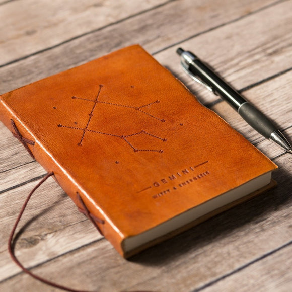 Gemini Zodiac Handmade Leather Journal CoolHatcher at TheArtOfLiving.Earth