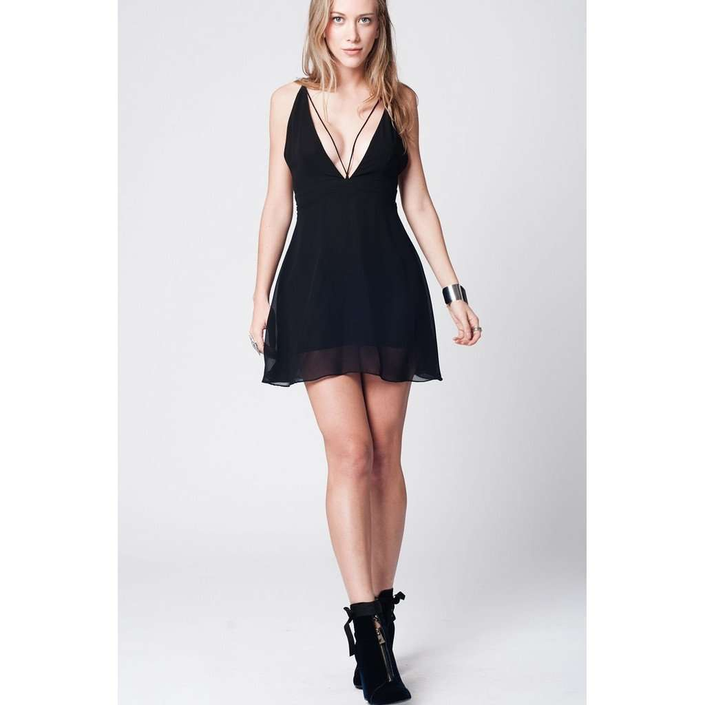 Black cross back stripes short dress CoolHatcher at TheArtOfLiving.Earth