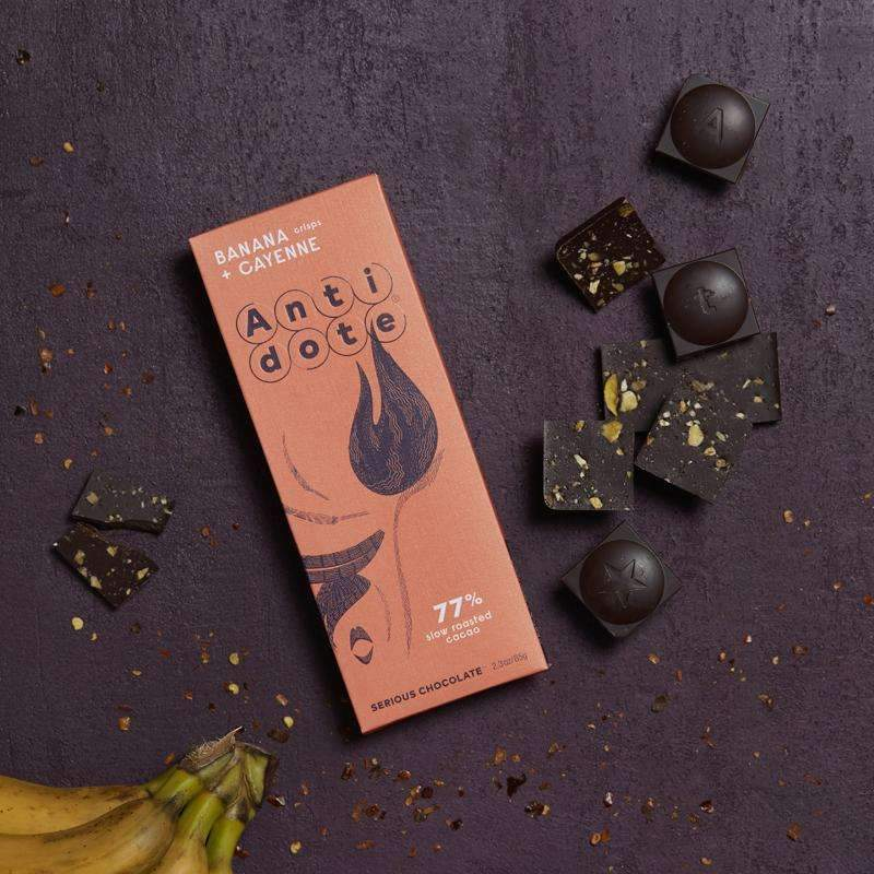 Antidote Chocolate - Hestia: Banana + Cayenne 77% with slow roasted cacao CoolHatcher at TheArtOfLiving.Earth