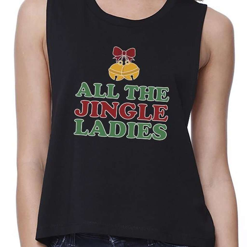 All The Jingle Ladies Womens Black Crop Top CoolHatcher at TheArtOfLiving.Earth