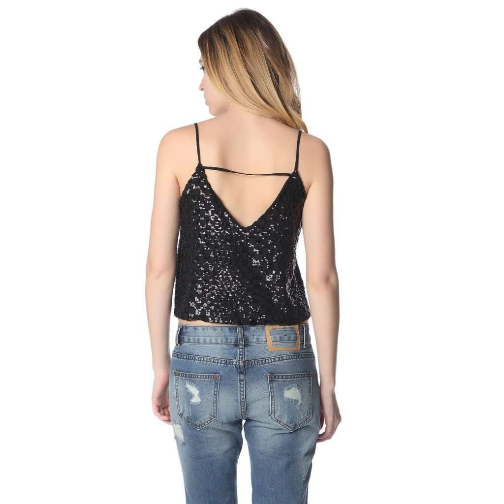 Black cami top with sequin detail CoolHatcher at TheArtOfLiving.Earth