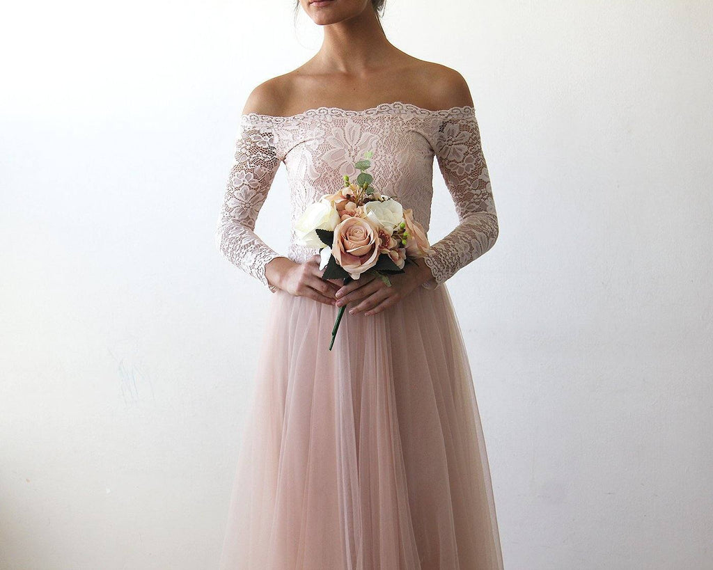 Ivory Off-The-Shoulder Lace and Tulle Train Wedding Gown 1162 CoolHatcher at TheArtOfLiving.Earth