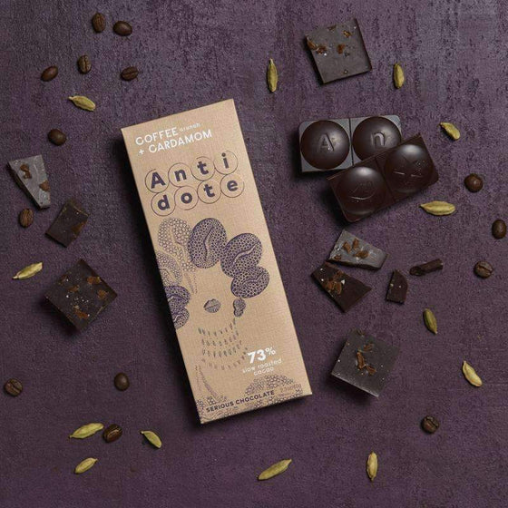 Antidote Chocolate - Kakia: Coffee + Cardamom 73% with slow roasted cacao CoolHatcher at TheArtOfLiving.Earth