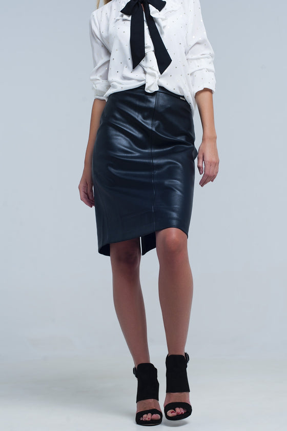 Black midi straight faux leather skirt CoolHatcher at TheArtOfLiving.Earth