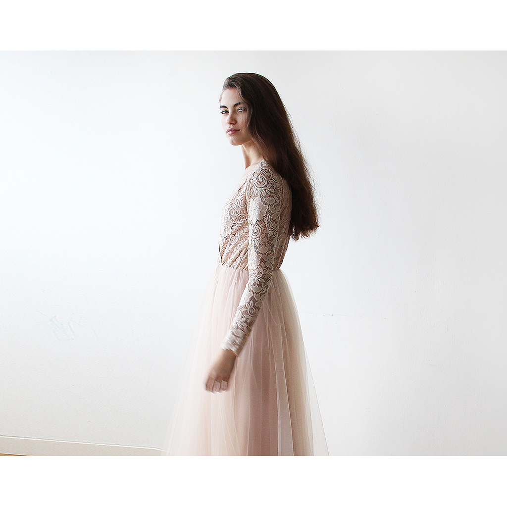 Blush Pink Tulle and Lace Long Sleeve maxi dress 1125 CoolHatcher at TheArtOfLiving.Earth