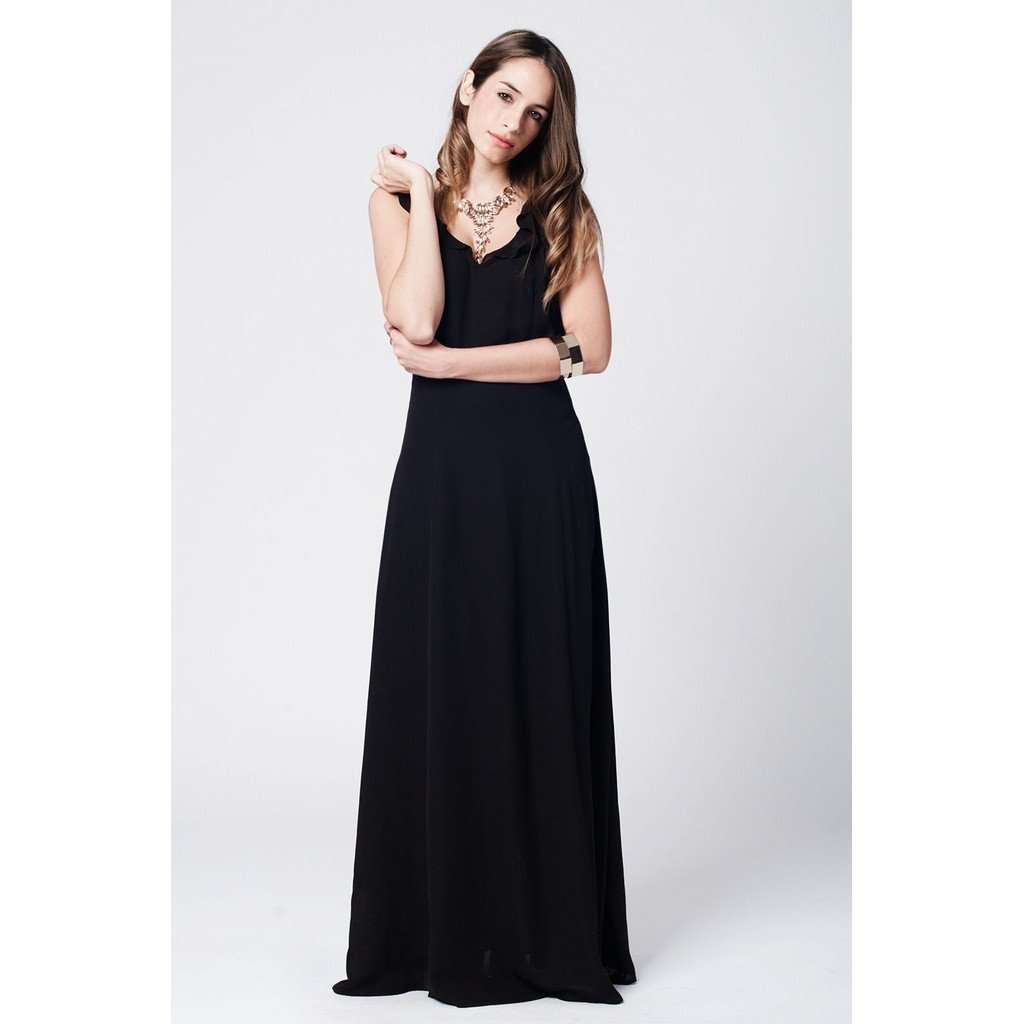 Black crossed stripes maxi dress with ruffle front CoolHatcher at TheArtOfLiving.Earth