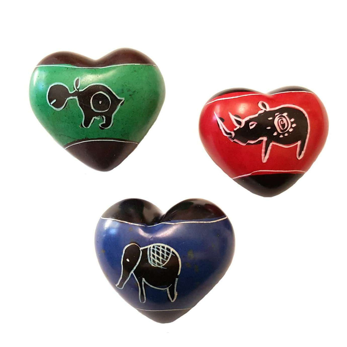 Set of Three Handcrafted Mini Soapstone Hearts - Smolart CoolHatcher at TheArtOfLiving.Earth