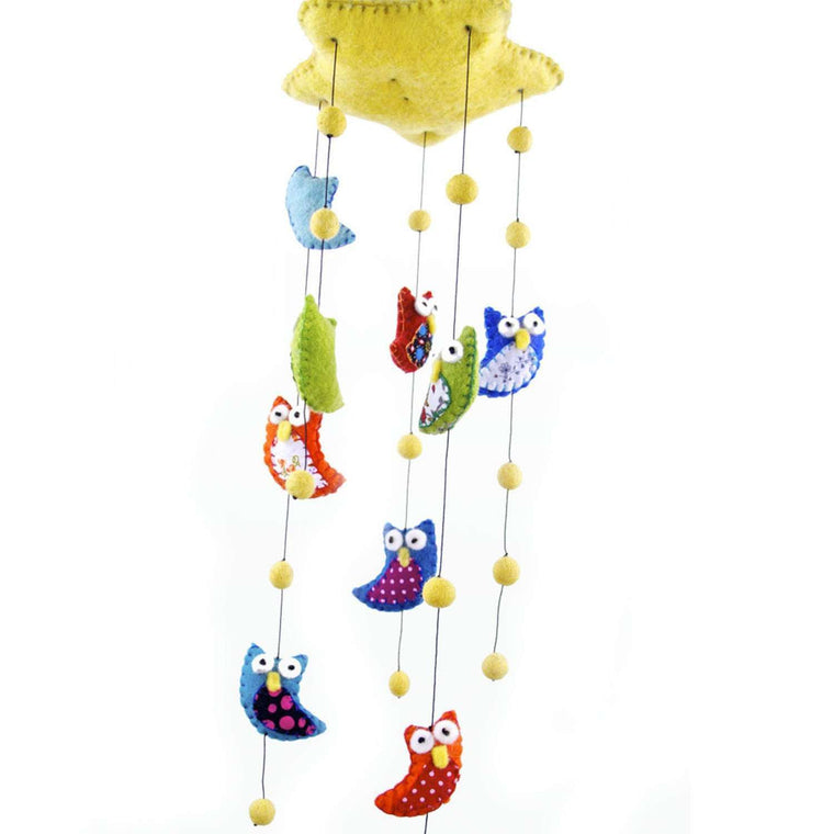 Felt Owl Mobile - Bright Colors - Global Groove CoolHatcher at TheArtOfLiving.Earth