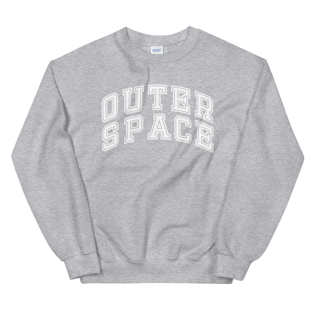 outer space heather grey crewneck sweatshirt
