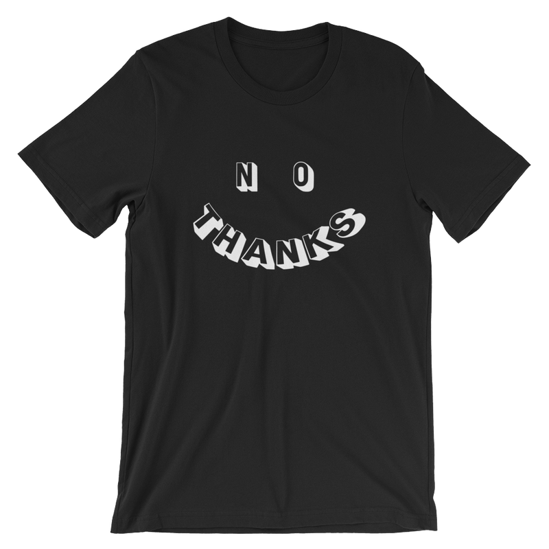 no thanks smiley face t-shirt tee