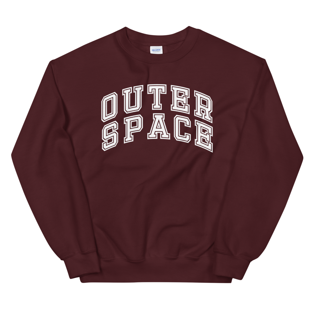 outer space maroon crewneck sweatshirt