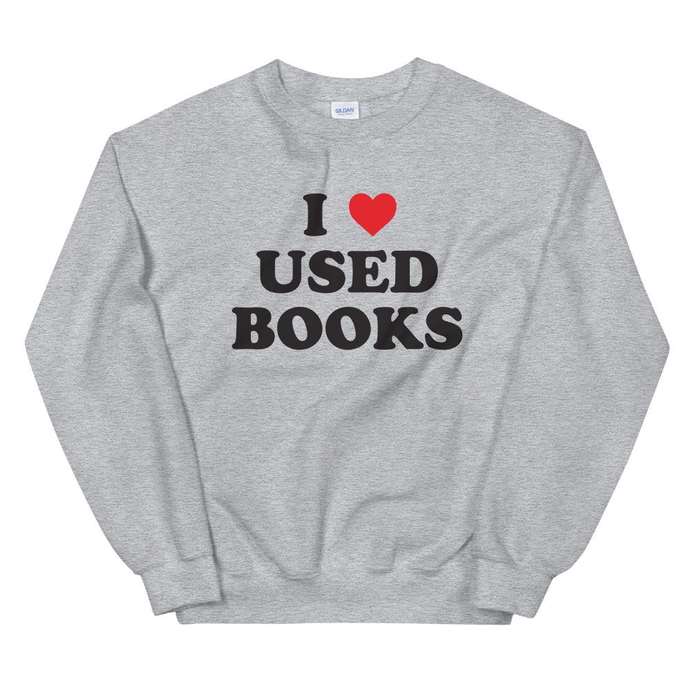 i love used books heart sweatshirt unisex