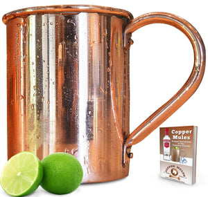 100% Copper Moscow Mule Mug (16 ounce Smooth) Premium Handcrafted Quality with no Inside Liner, Riveted Handle