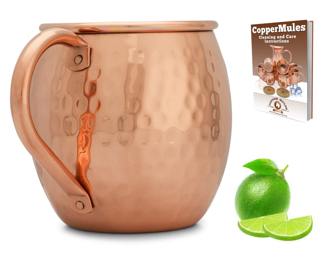 Copper Mules 100% Copper Moscow Mule Mug - Barrel Hammered Style - Handcrafted Quality with Strong Riveted Copper Handle - 16oz Capacity