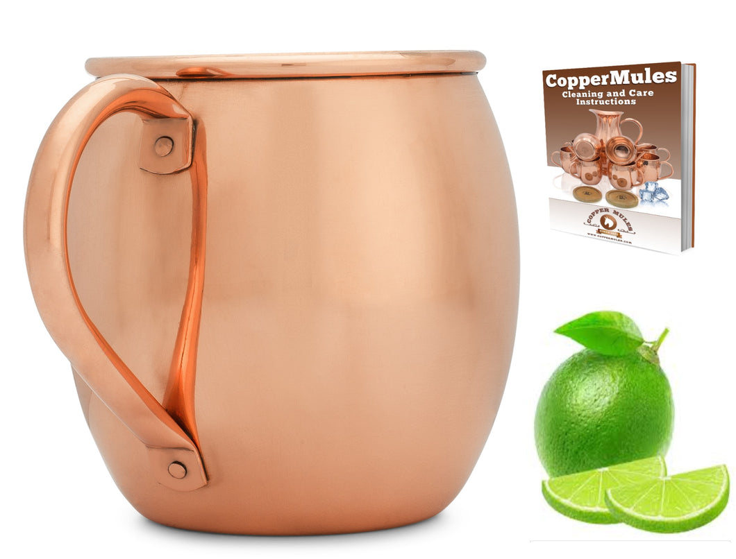 Copper Mules 100% Copper Moscow Mule Mug - Barrel Smooth Style - Premium Handcrafted Quality Riveted Handle - 16oz
