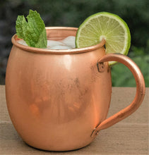 Load image into Gallery viewer, Copper Mules 100% Copper Moscow Mule Mug - Barrel Smooth Style - Premium Handcrafted Quality Riveted Handle - 16oz